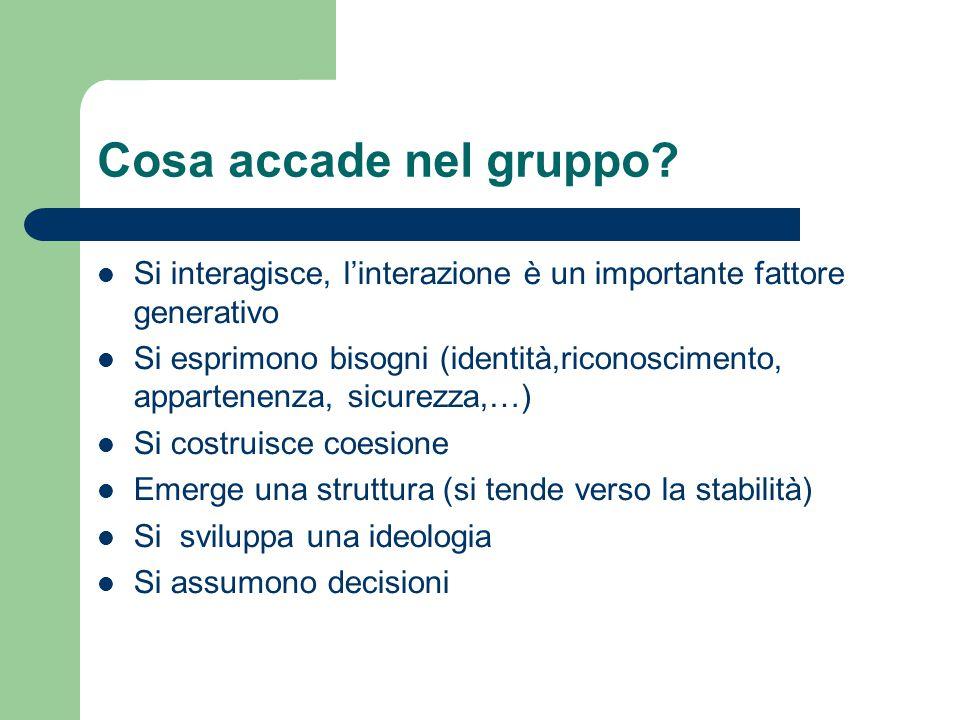 Cosa accade nel gruppo Si interagisce, l'interazione è un importante fattore generativo.