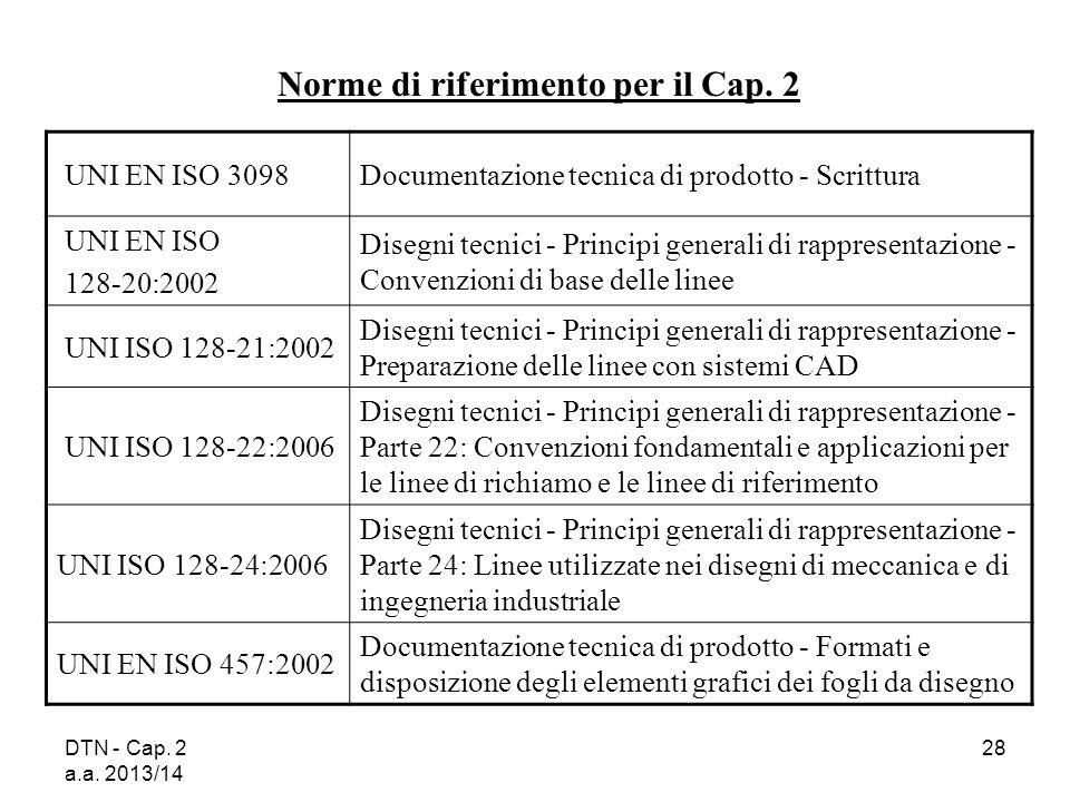 Norme di riferimento per il Cap. 2