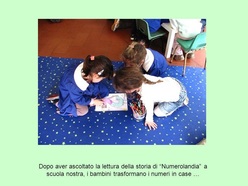 Dopo aver ascoltato la lettura della storia di Numerolandia a scuola nostra, i bambini trasformano i numeri in case …