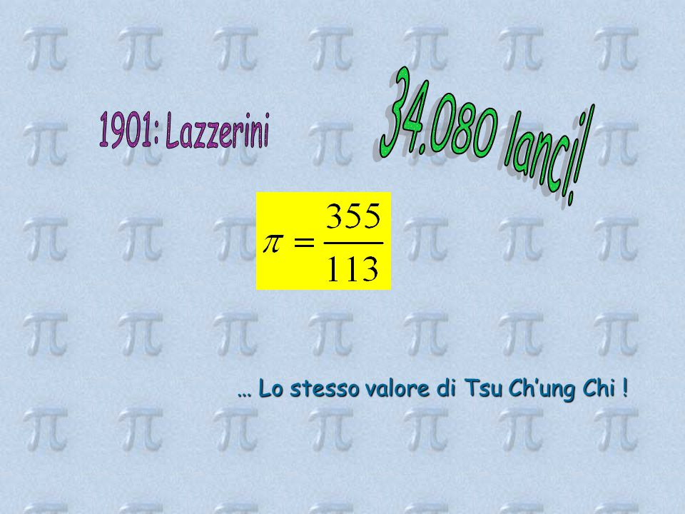 34.080 lanci! 1901: Lazzerini … Lo stesso valore di Tsu Ch'ung Chi !