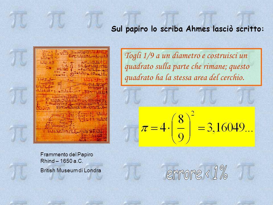 Sul papiro lo scriba Ahmes lasciò scritto: