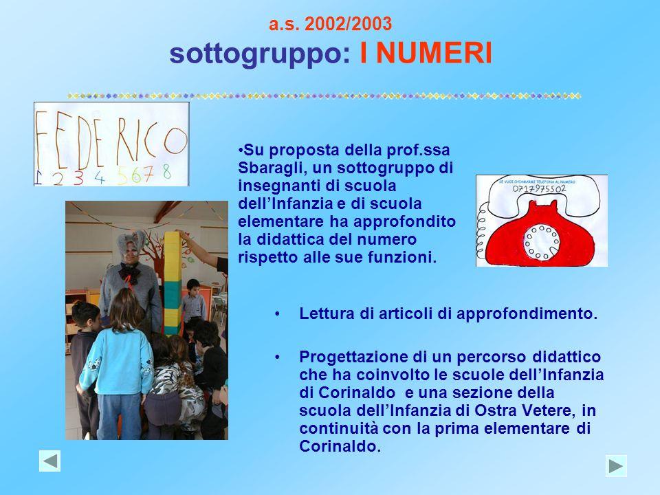 a.s. 2002/2003 sottogruppo: I NUMERI