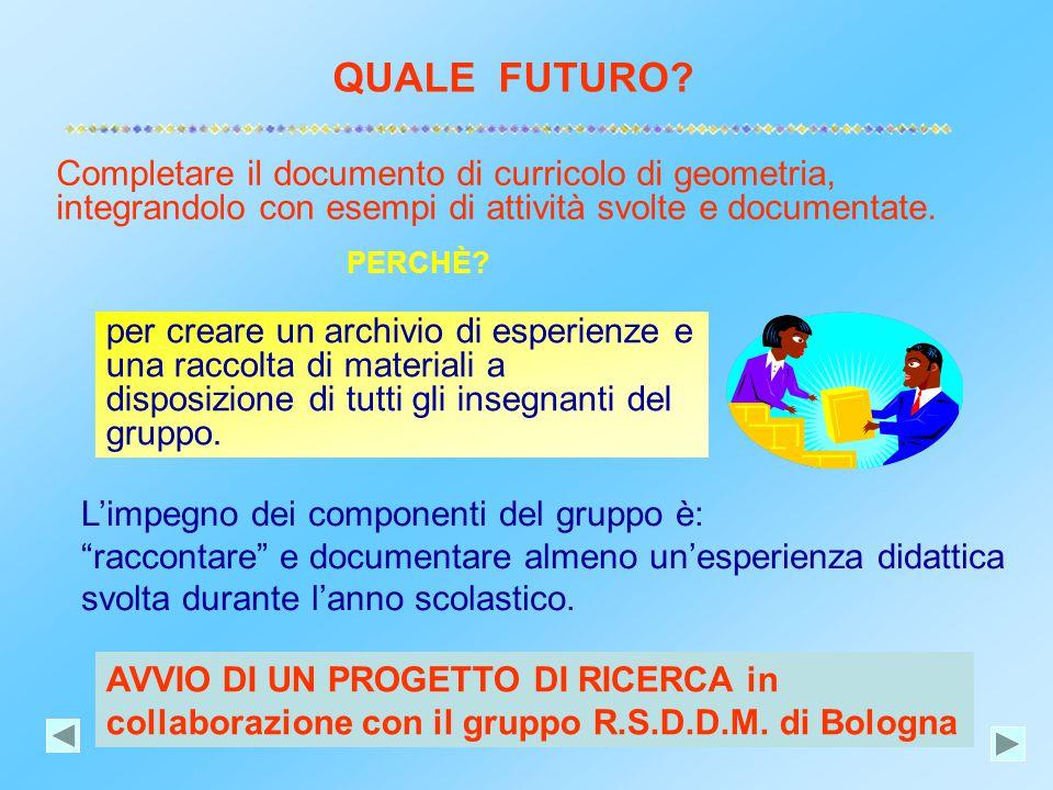 QUALE FUTURO Completare il documento di curricolo di geometria, integrandolo con esempi di attività svolte e documentate.