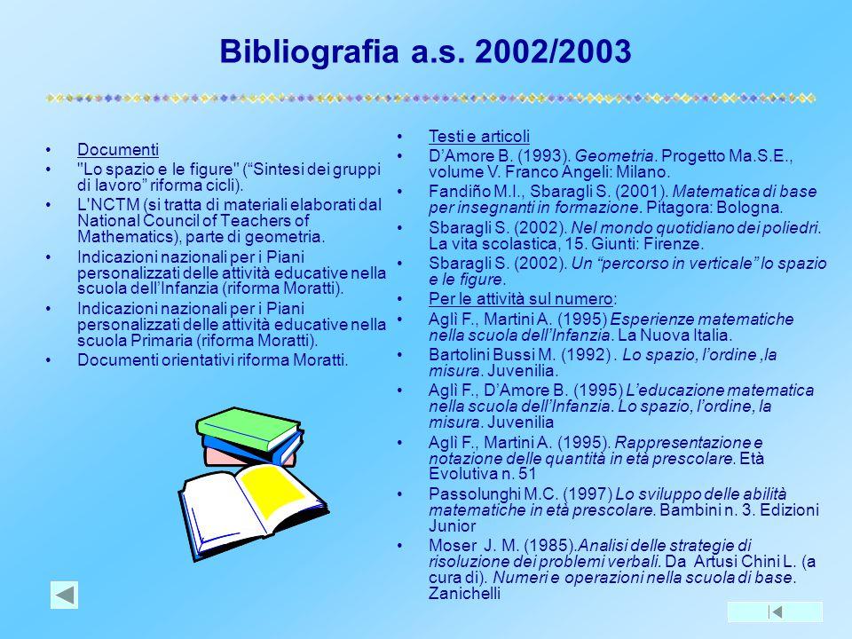 Bibliografia a.s. 2002/2003 Testi e articoli