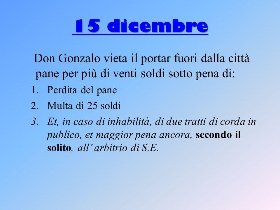 15 dicembre Don Gonzalo vieta il portar fuori dalla città pane per più di venti soldi sotto pena di:
