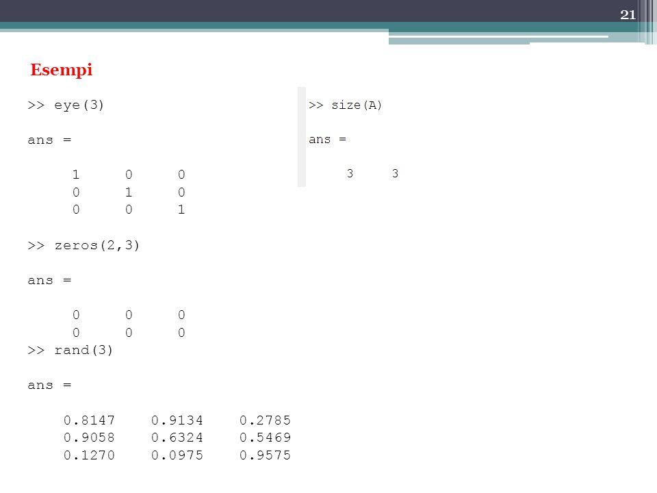 Esempi >> eye(3) ans = 1 0 0 0 1 0 0 0 1 >> zeros(2,3)