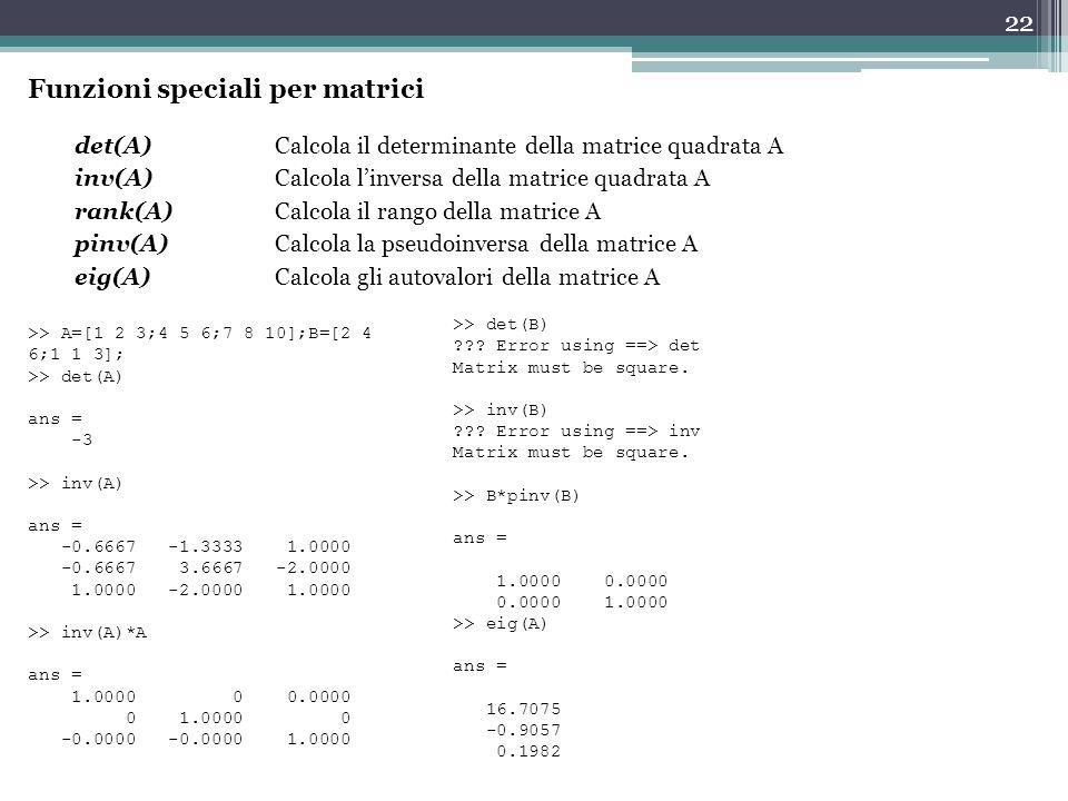 Funzioni speciali per matrici