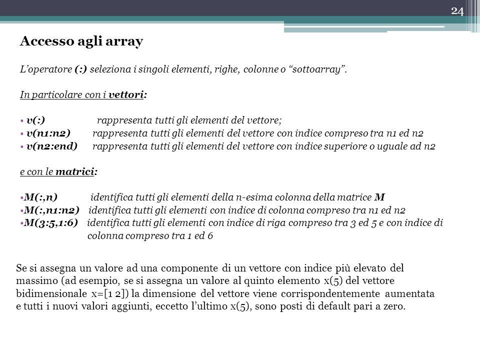 Accesso agli array L'operatore (:) seleziona i singoli elementi, righe, colonne o sottoarray . In particolare con i vettori: