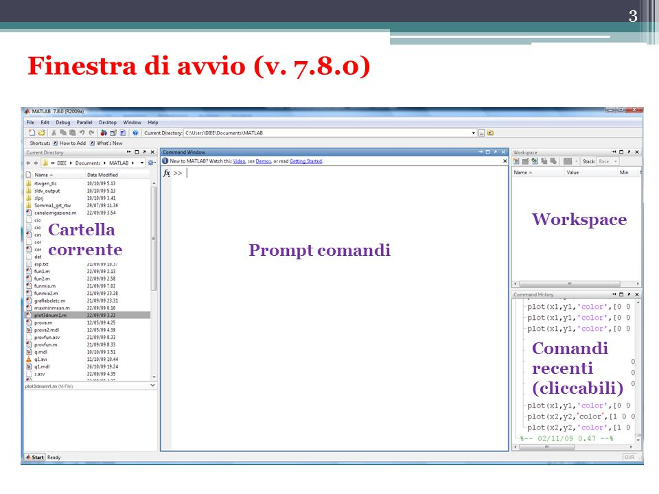 Finestra di avvio (v. 7.8.0) Workspace Cartella corrente