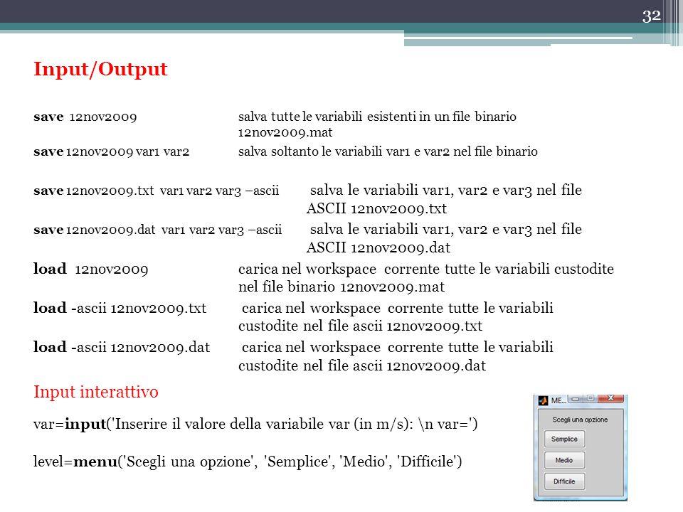 Input/Output Input interattivo