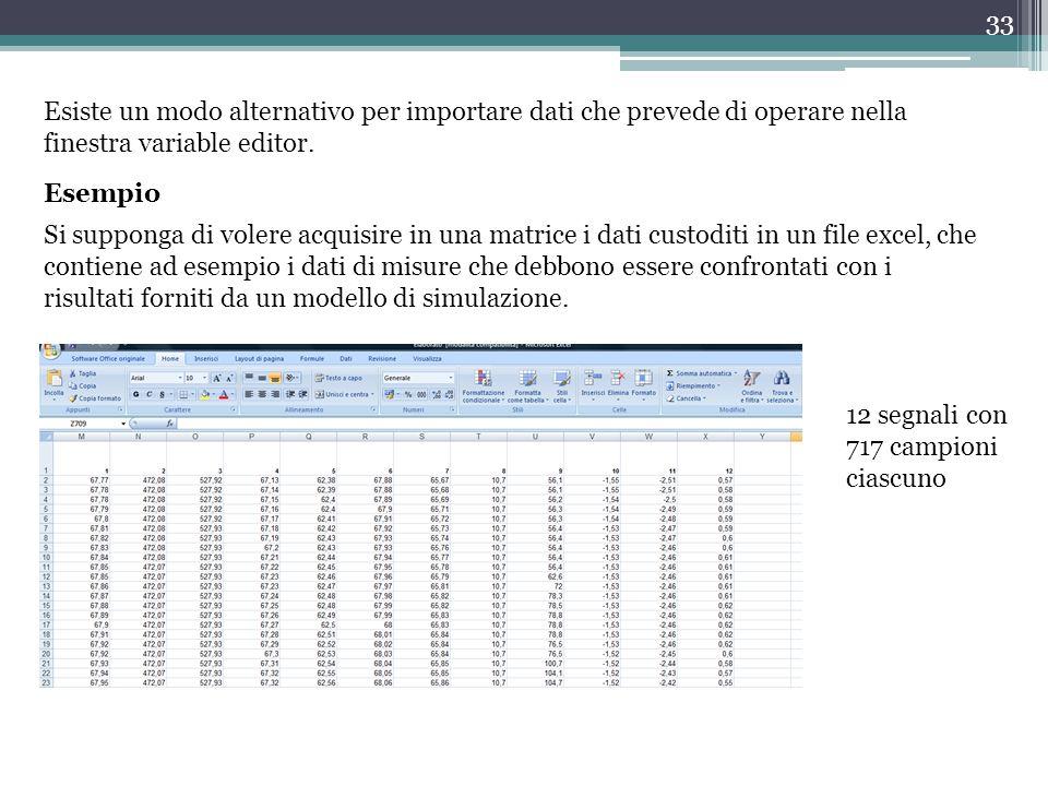 Esiste un modo alternativo per importare dati che prevede di operare nella finestra variable editor.