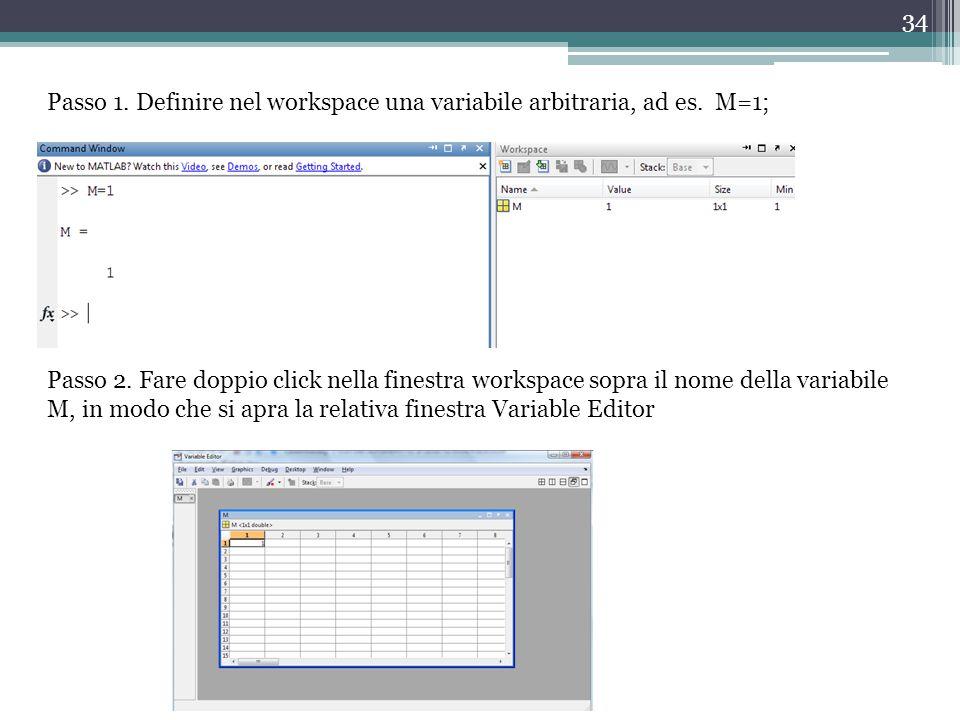 Passo 1. Definire nel workspace una variabile arbitraria, ad es. M=1;