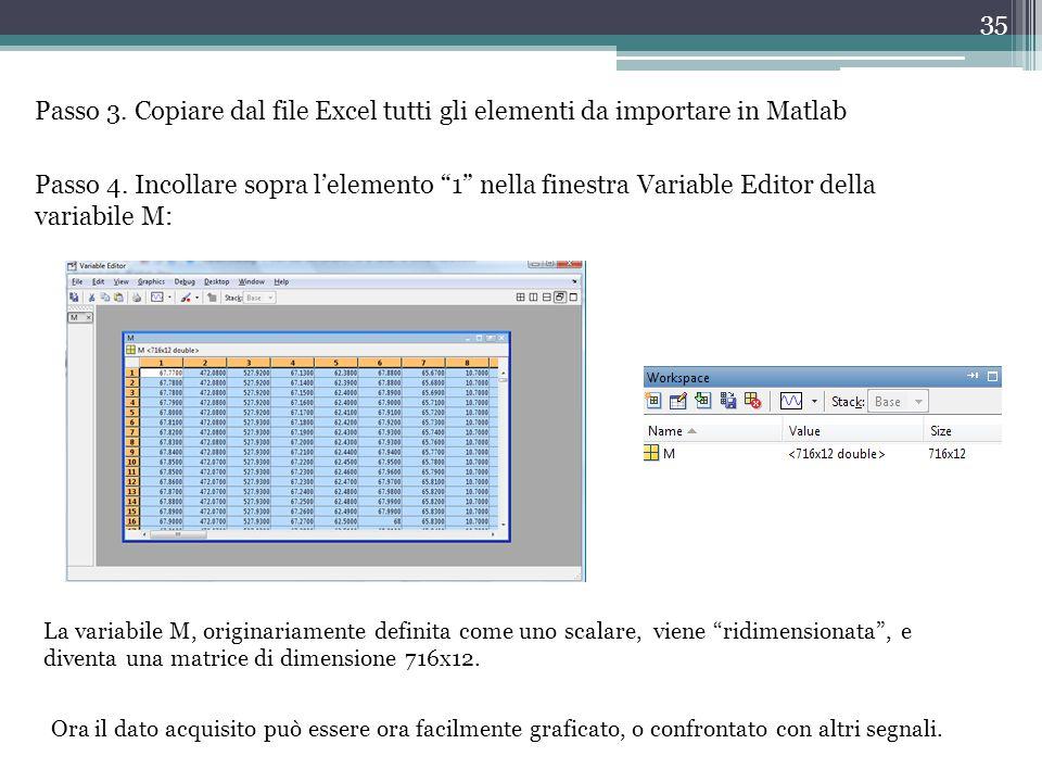 Passo 3. Copiare dal file Excel tutti gli elementi da importare in Matlab