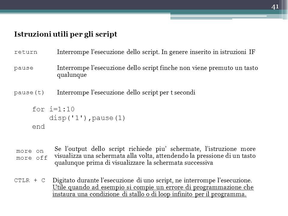 Istruzioni utili per gli script