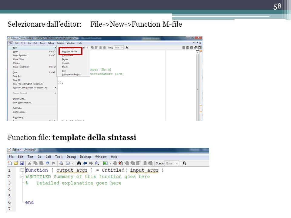 Selezionare dall'editor: File->New->Function M-file