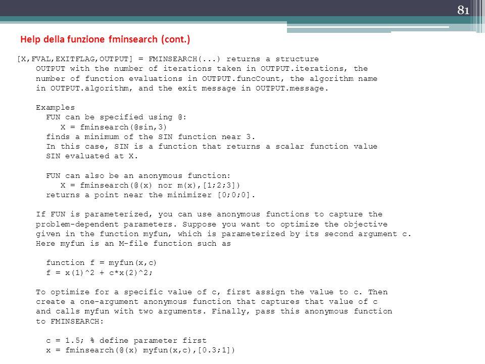 Help della funzione fminsearch (cont.)