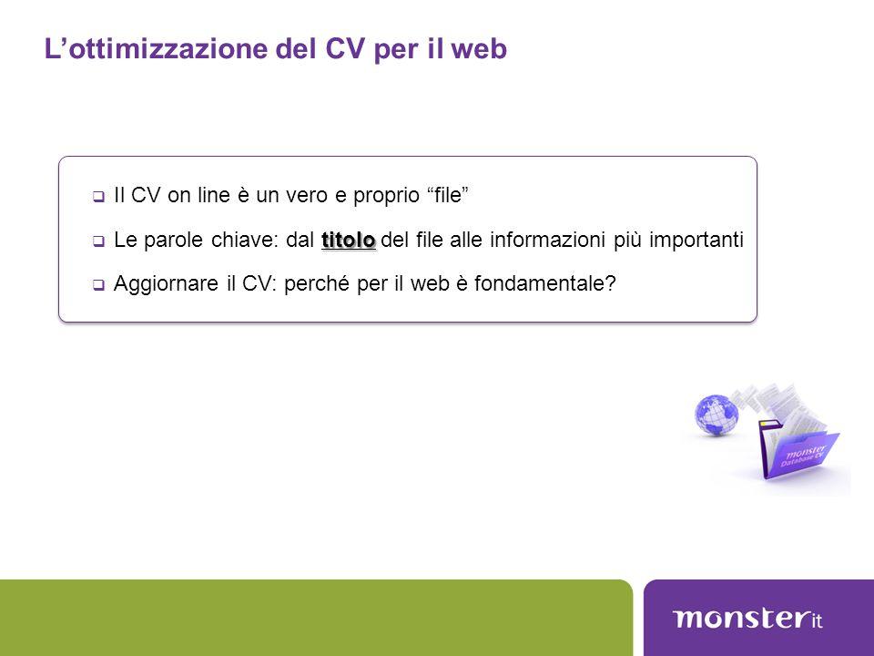 L'ottimizzazione del CV per il web
