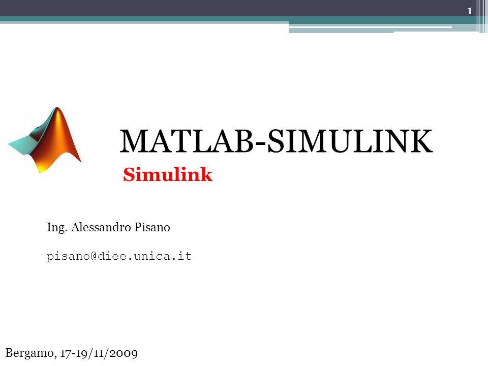 MATLAB-SIMULINK Simulink Ing. Alessandro Pisano pisano@diee.unica.it