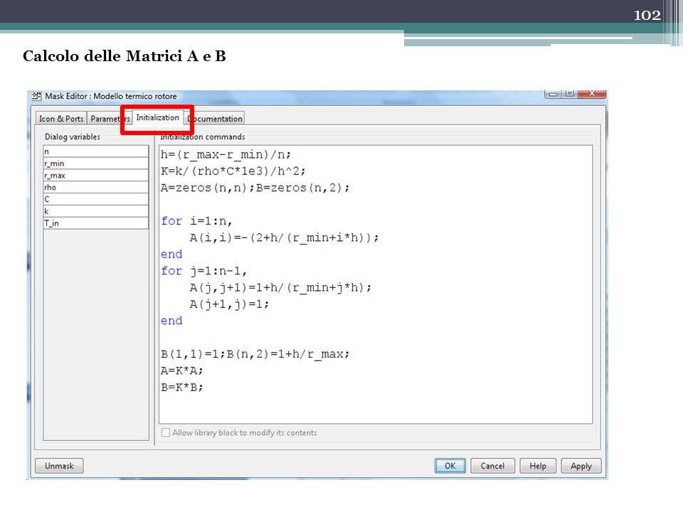 Calcolo delle Matrici A e B