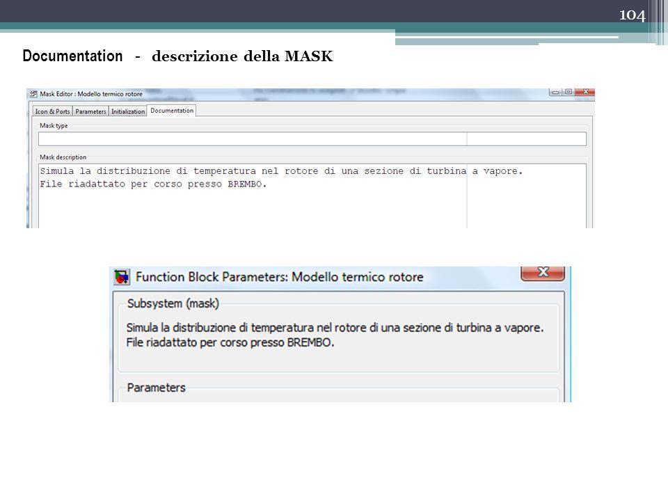 Documentation - descrizione della MASK