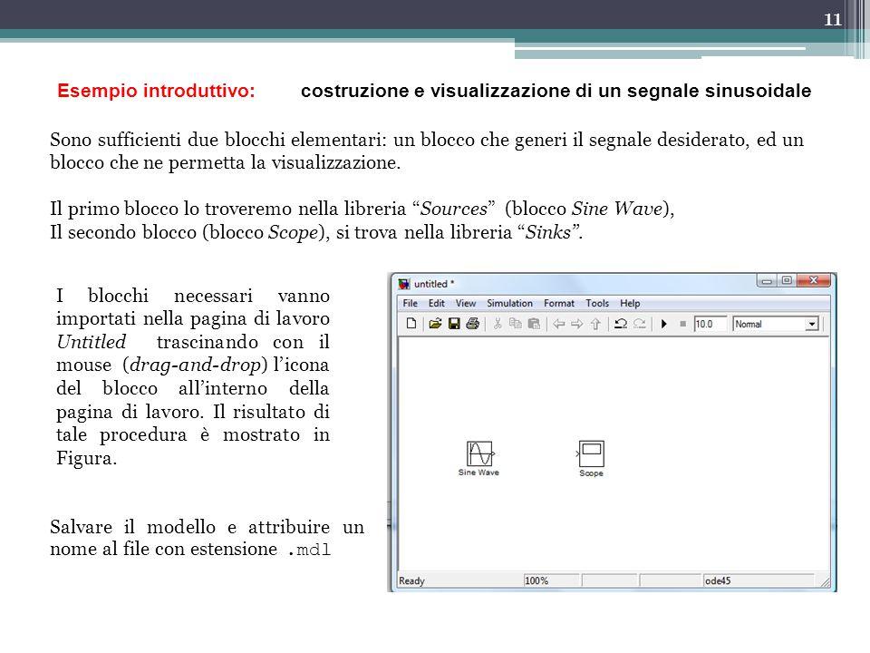 Esempio introduttivo: costruzione e visualizzazione di un segnale sinusoidale