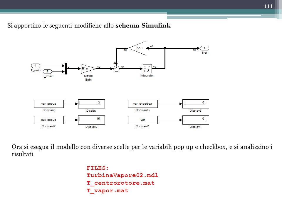 Si apportino le seguenti modifiche allo schema Simulink
