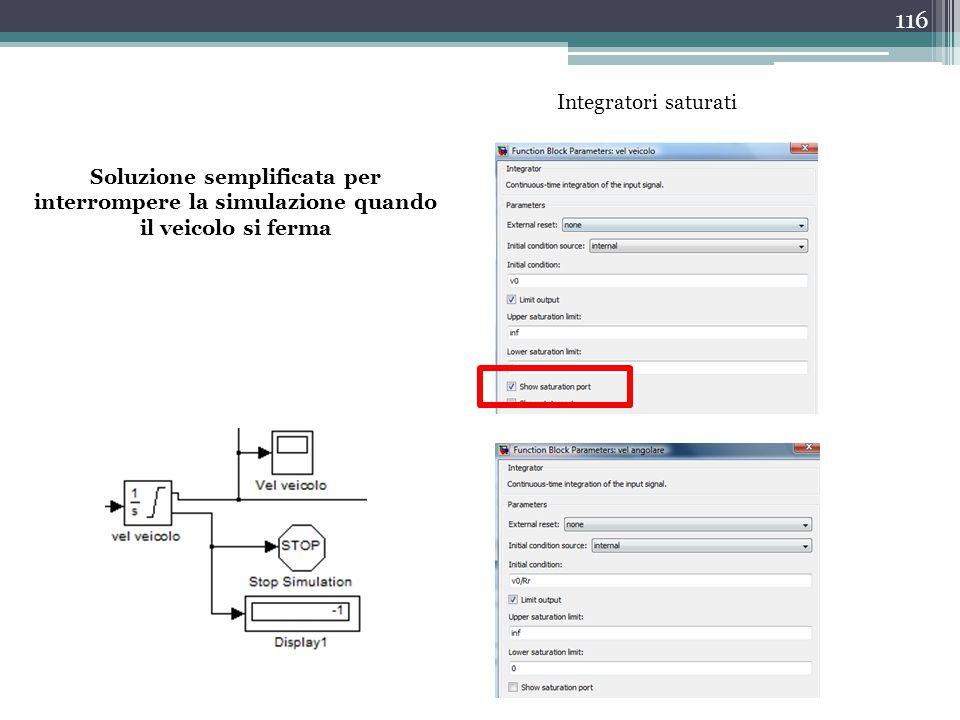 Integratori saturati Soluzione semplificata per interrompere la simulazione quando il veicolo si ferma.