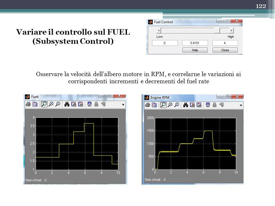 Variare il controllo sul FUEL (Subsystem Control)