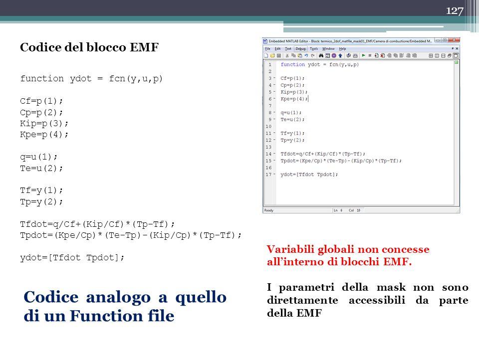 Codice analogo a quello di un Function file