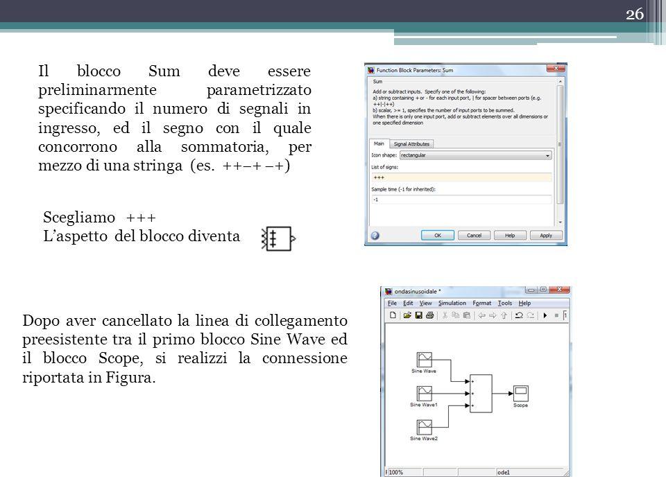 Il blocco Sum deve essere preliminarmente parametrizzato specificando il numero di segnali in ingresso, ed il segno con il quale concorrono alla sommatoria, per mezzo di una stringa (es. +++ +)
