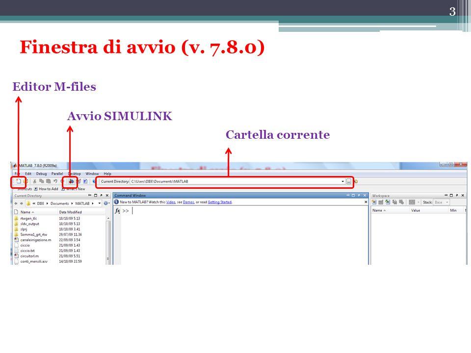 Finestra di avvio (v. 7.8.0) Editor M-files Avvio SIMULINK