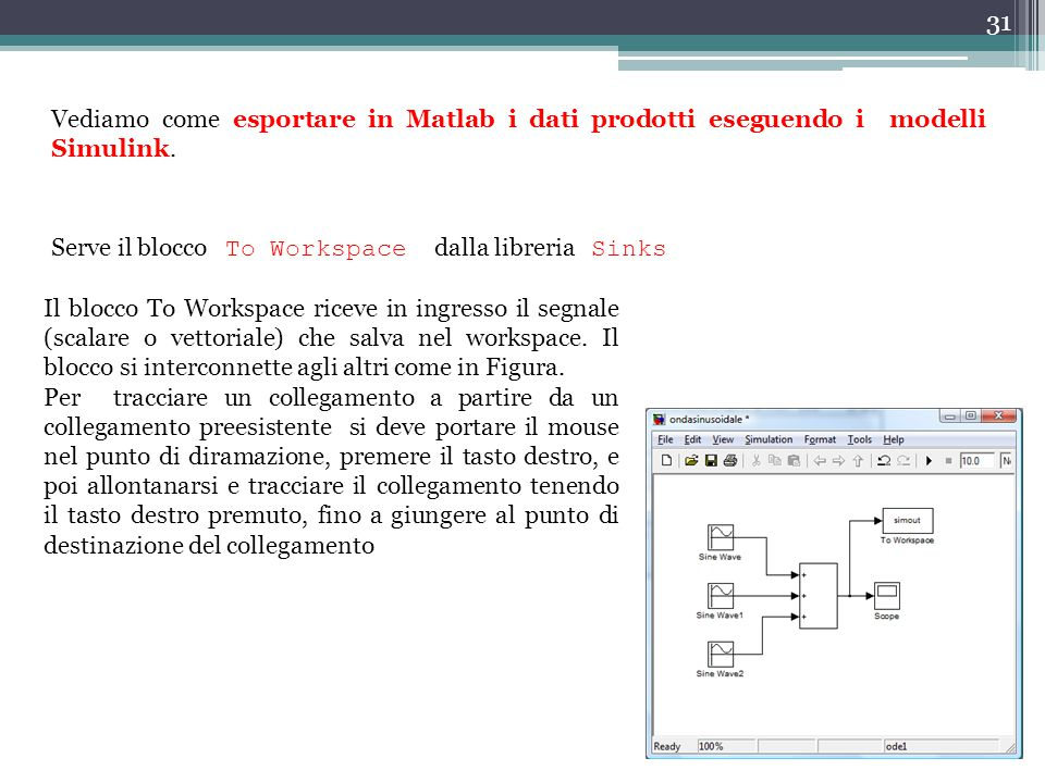 Vediamo come esportare in Matlab i dati prodotti eseguendo i modelli Simulink.