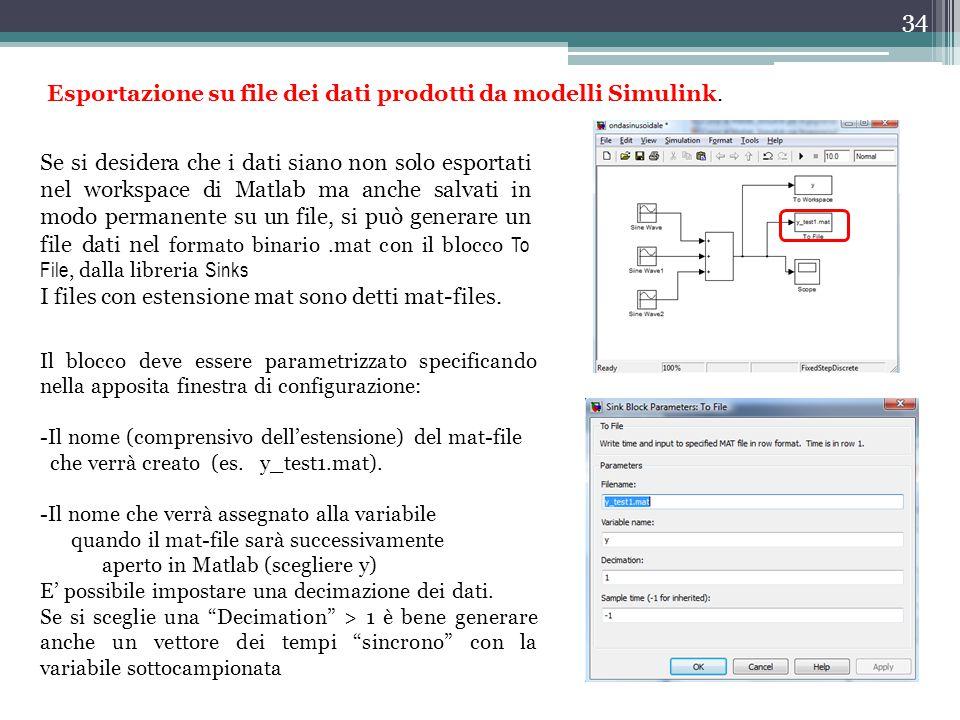 Esportazione su file dei dati prodotti da modelli Simulink.