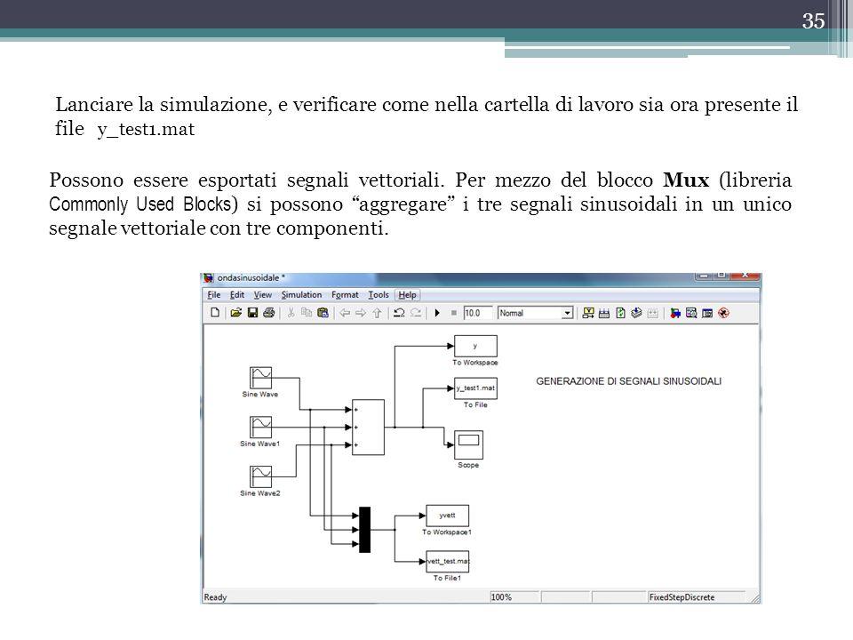 Lanciare la simulazione, e verificare come nella cartella di lavoro sia ora presente il file y_test1.mat