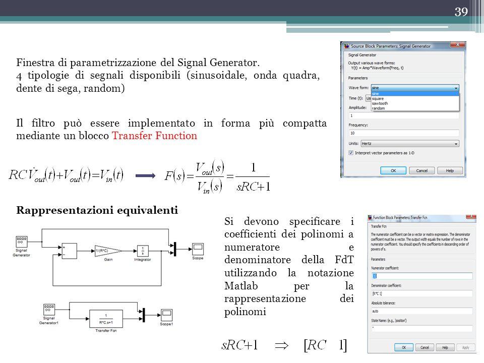 Finestra di parametrizzazione del Signal Generator.