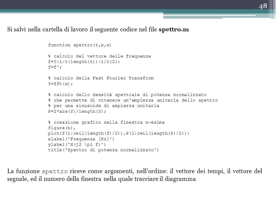 Si salvi nella cartella di lavoro il seguente codice nel file spettro