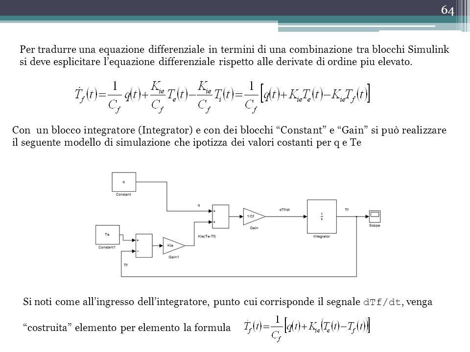 Per tradurre una equazione differenziale in termini di una combinazione tra blocchi Simulink si deve esplicitare l'equazione differenziale rispetto alle derivate di ordine piu elevato.