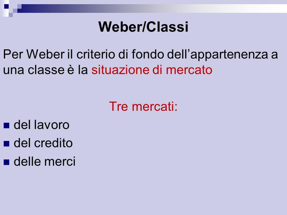 Weber/Classi Per Weber il criterio di fondo dell'appartenenza a una classe è la situazione di mercato.