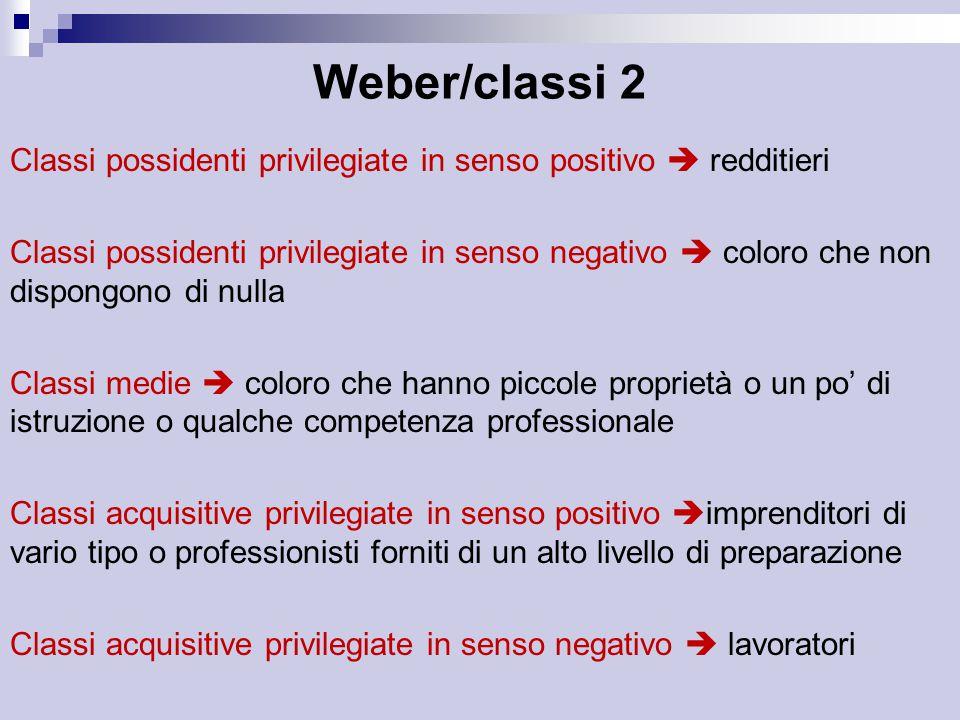 Weber/classi 2 Classi possidenti privilegiate in senso positivo  redditieri.