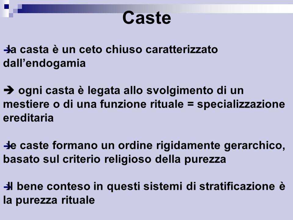Caste la casta è un ceto chiuso caratterizzato dall'endogamia