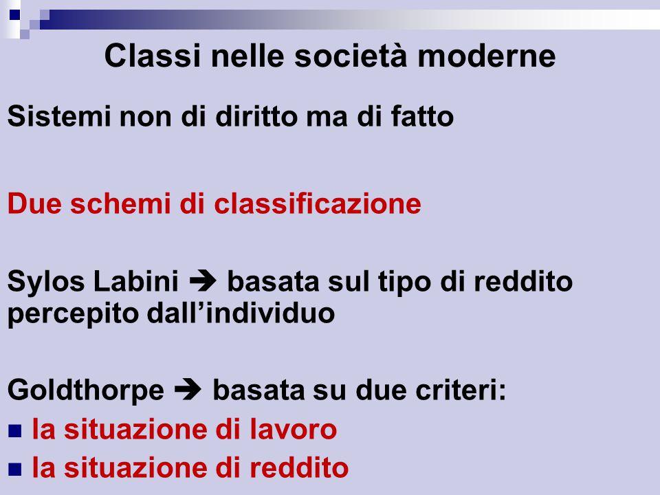 Classi nelle società moderne