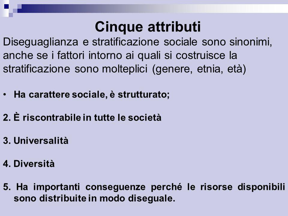 Cinque attributi Diseguaglianza e stratificazione sociale sono sinonimi, anche se i fattori intorno ai quali si costruisce la.