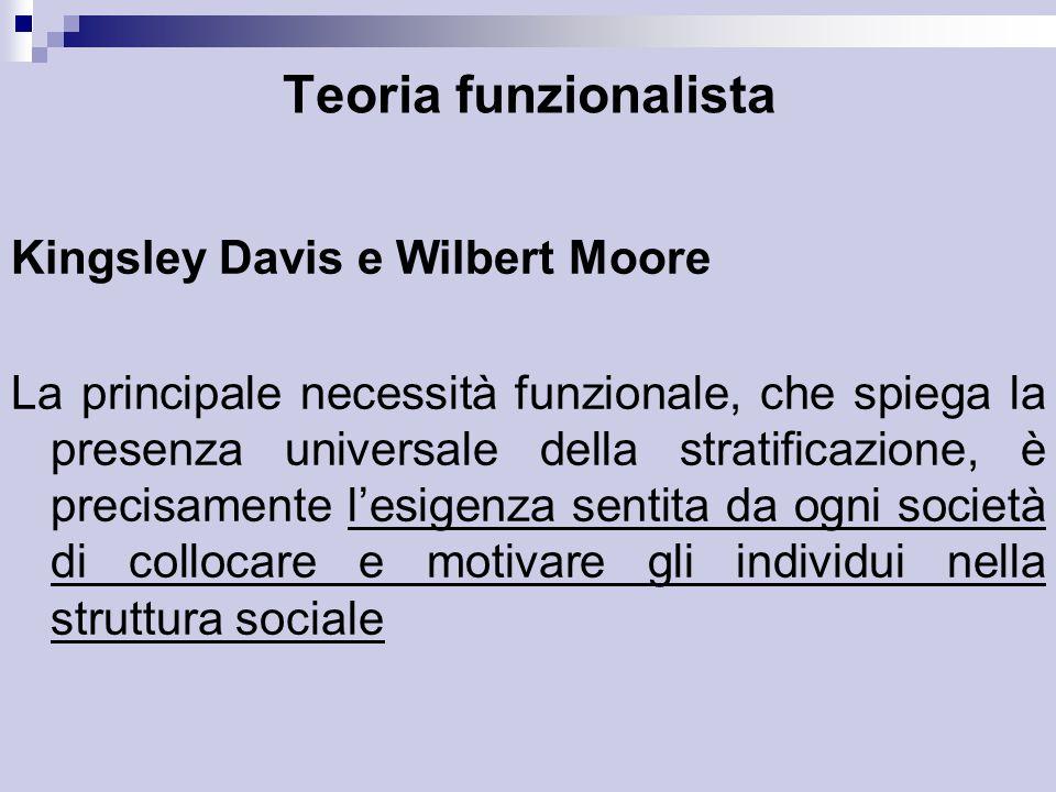 Teoria funzionalista Kingsley Davis e Wilbert Moore