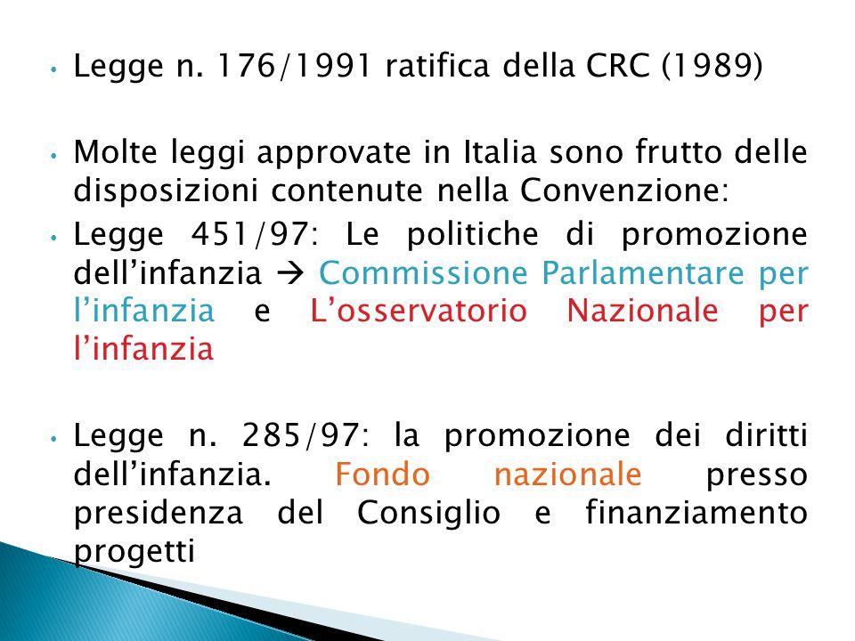 Legge n. 176/1991 ratifica della CRC (1989)