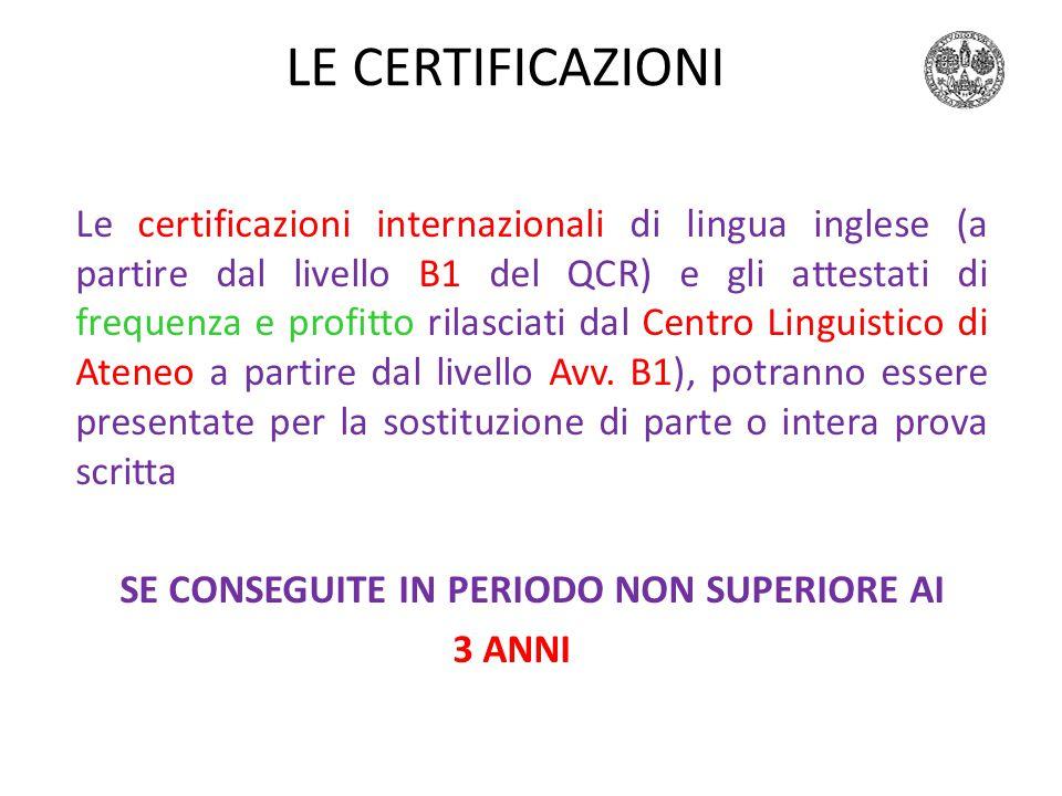 Inglese 1999-2000 LE CERTIFICAZIONI.