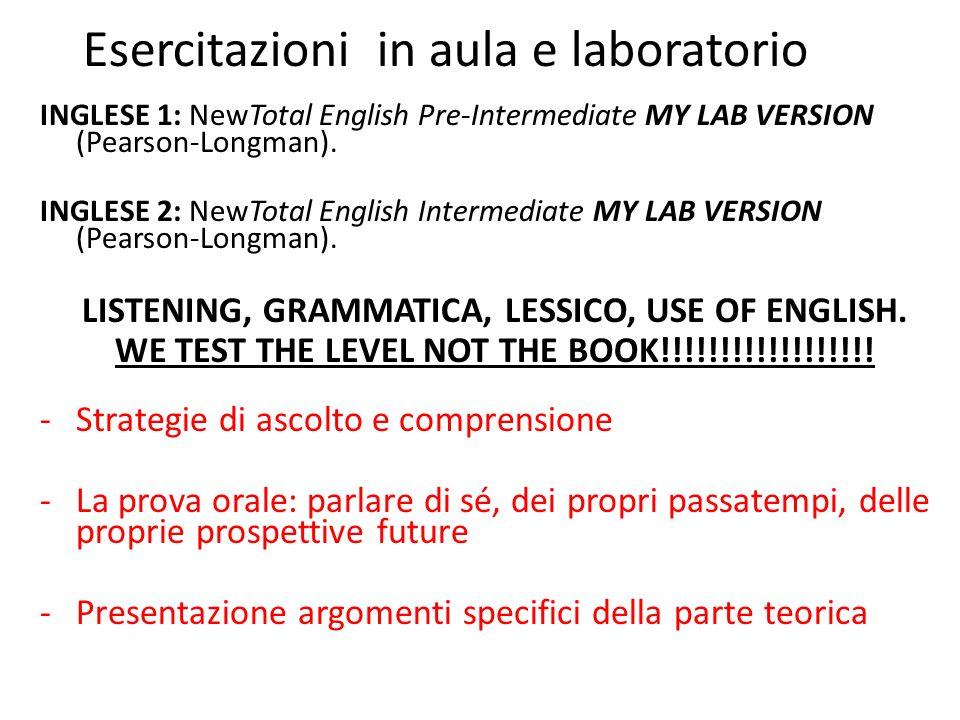 Esercitazioni in aula e laboratorio