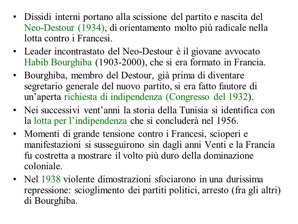Dissidi interni portano alla scissione del partito e nascita del Neo-Destour (1934), di orientamento molto più radicale nella lotta contro i Francesi.