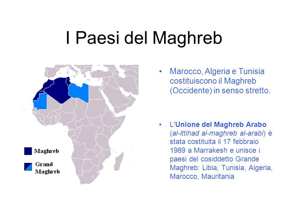 I Paesi del Maghreb Marocco, Algeria e Tunisia costituiscono il Maghreb (Occidente) in senso stretto.
