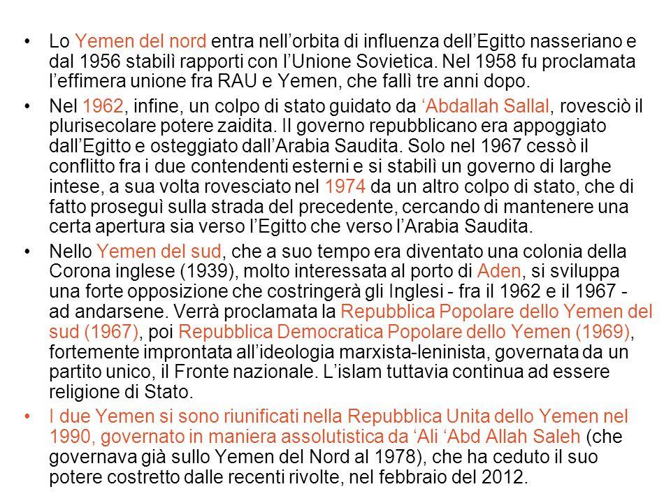 Lo Yemen del nord entra nell'orbita di influenza dell'Egitto nasseriano e dal 1956 stabilì rapporti con l'Unione Sovietica. Nel 1958 fu proclamata l'effimera unione fra RAU e Yemen, che fallì tre anni dopo.