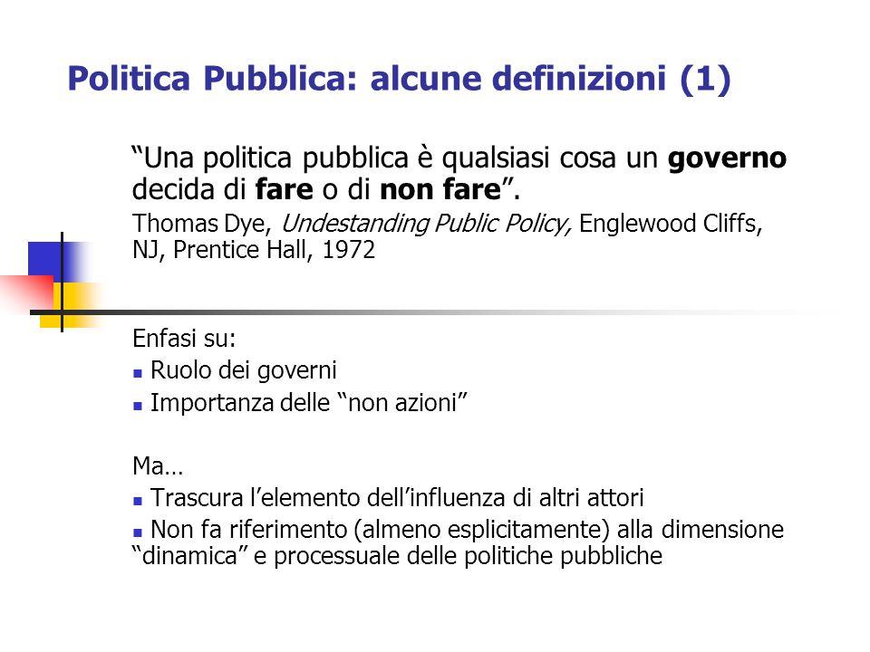 Politica Pubblica: alcune definizioni (1)